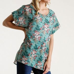 Umgee Floral Print Round Neck Top
